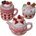 Kreative Rosa Erdbeere Teekanne Tasse Keramik Candy Salz Glas Mädchen Herzen Nette Nachmittag Tee Set Weihnachten geschenk Freies Verschiffen-in Kaffeezubehör-Sets aus Heim und Garten bei