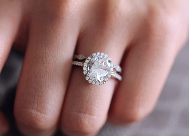 3.96CTW Oval Cut Simulated Diamond 925 Sterling Silver with Gold Engagement Wedding Ring