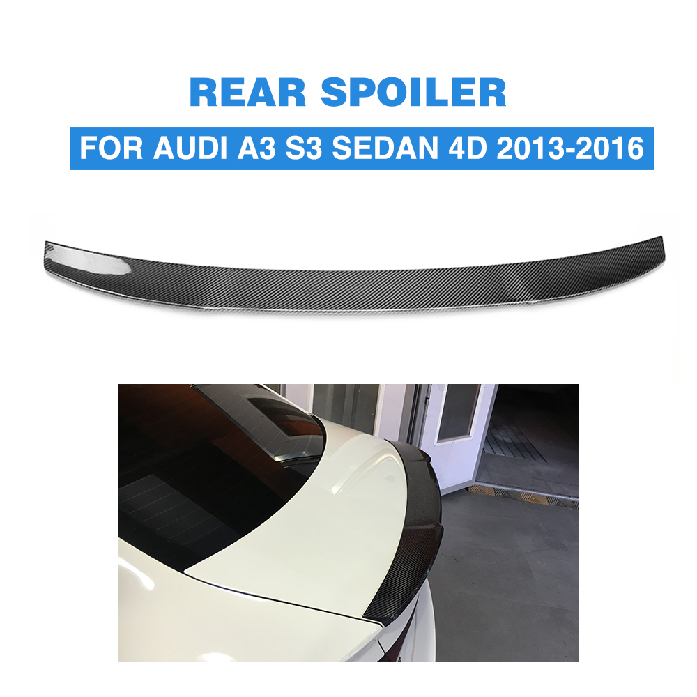 Rear Spoiler For Audi A3 S3 8V Sedan 2013 - 2016 Carbon Fiber / FRP Rear Trunk Spoiler Boot Lip Wing 2007 bmw x5 spoiler