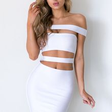 374c31564ce Top runway fashion Off the Shoulder Cut Off design white black olive  colourful women Celebrity bandage