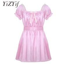 YiZYiF для мужчин Сисси ночное белье сексуальное нижнее белье квадратный вырез Блестящий мягкий атласный, высокий, низкий дизайн Crossdress белье платье с поясом