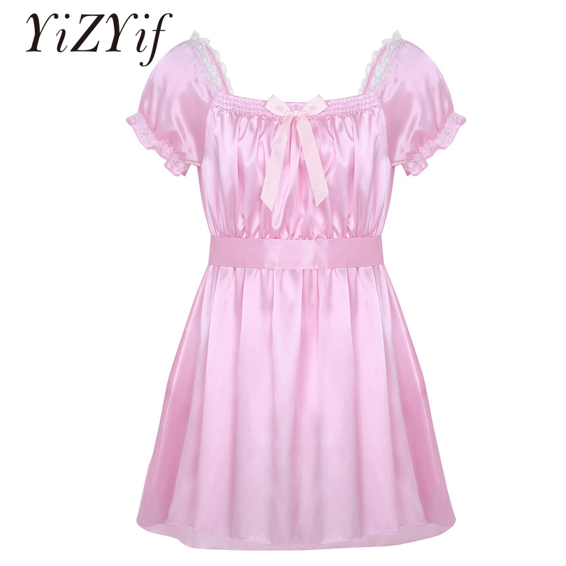 YiZYiF Men Sissy Nightwear Sexy Underwear Square Neckline Shiny Soft Satin High Low Design Crossdress Lingerie Dress With Sash