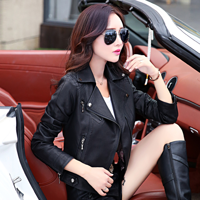 2016 new spring and autumn leather jacket women short clothing outerwear slim stand collar motorcycle leather coat female