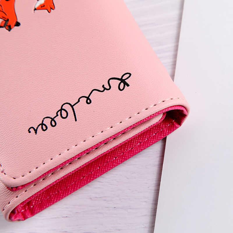 Женский кошелек XZP в Корейском стиле с милой лисой, маленький кошелек на молнии для девушек, брендовый Женский кошелек из искусственной кожи, Женский кошелек для монет, Женский держатель для карт, кошелек Billetera