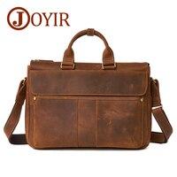 JOYIR Brand Men Briefcases Vintage Male Handbag Business Men Laptop Genuine Leather Men Crossbody Shoulder Bag