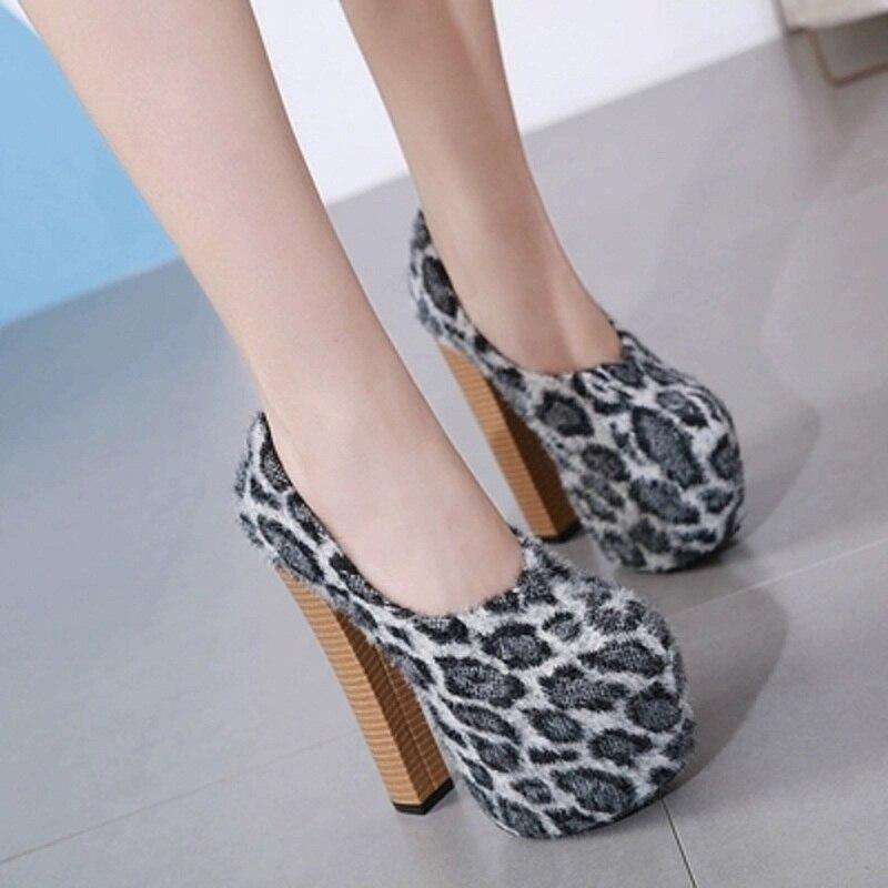 Tacón De Una caqui Cm Etapa Madera Gruesa 16 Zapatos Leopardo Nuevo Plataforma Alto Negro Super Grano Sexy Mujer Noche Sola Princesa La Y8xSqZ