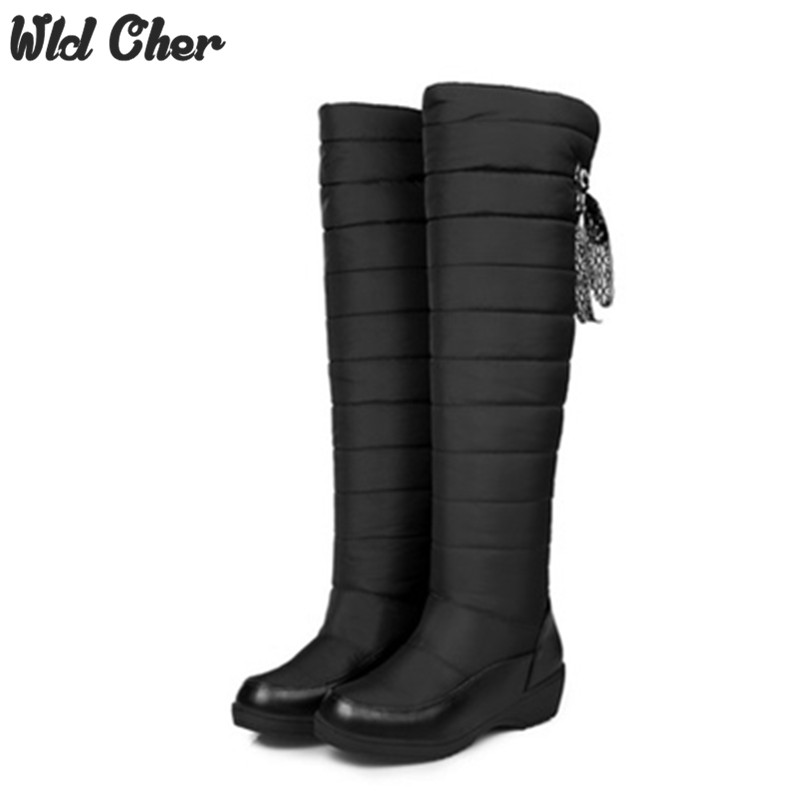 Free shipping 2017 Women Down Boots Winter Female Waterproof knee high Boots Women's Russia and Australia Snow Boots platform vpg wl1406 free shipping higher quality weight lifting knee sleeves for powerlifting crossfit knee pad for women and men