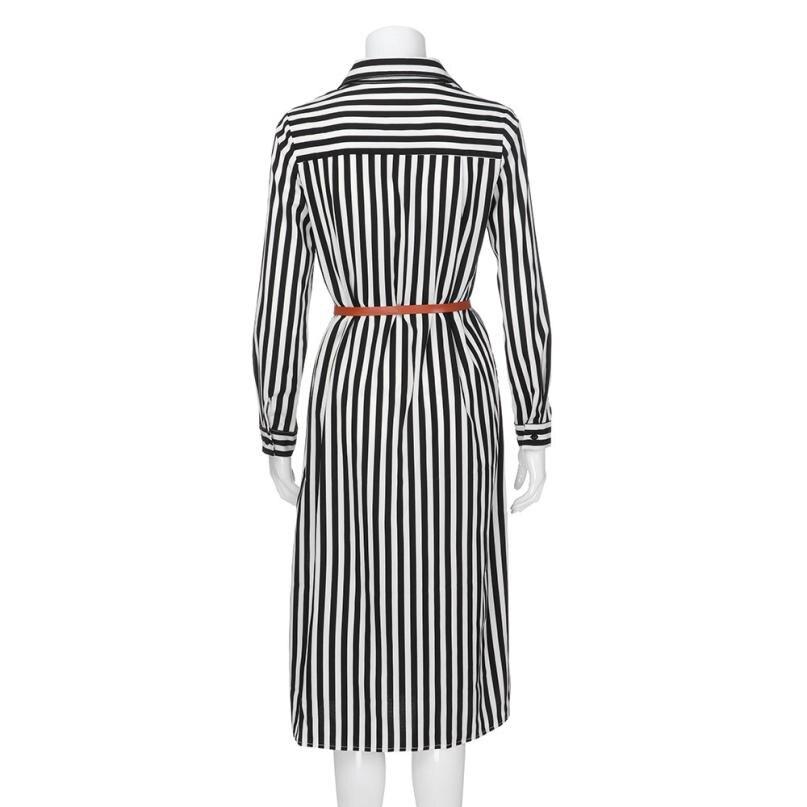 KANCOOLD Dress Women fashion Stripe Printed Long Sleeves Button Dress Bandage Belt Shirt Long Dress women 18AUG8 9