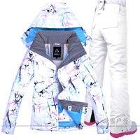 Женская лыжная куртка брюки сноуборд костюм ветрозащитный водостойкий Открытый Спортивная одежда супер теплая одежда брюки зимний женски