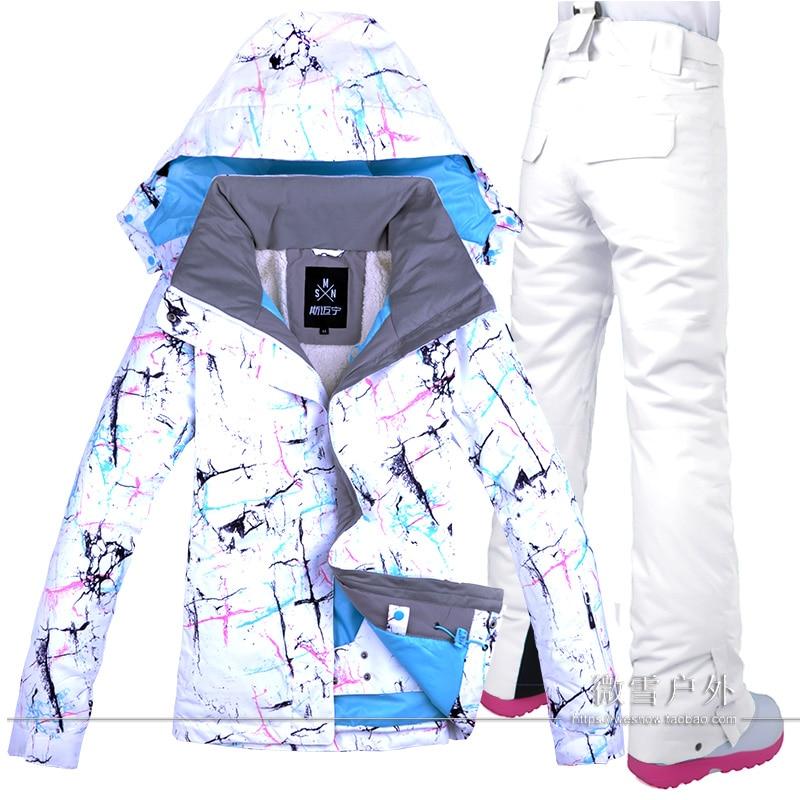 Giacca Pantalone Snowboard Impermeabile Antivento Tuta Da Sci Da donna di Sport Esterno di Usura Super-Caldo Dei Vestiti Dei Pantaloni di Inverno del Vestito Femminile Serie