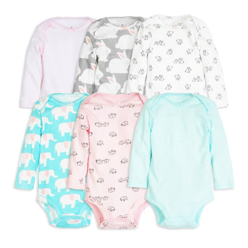 6pcs baby girl rompers 2018 newborn baby clothes long sleeve clothing romper baby jumpsuit cute rabbit pattern baby costume set baby rompers autumn long sleeve newborn baby boy girl bear toddler jumpsuit romper baby clothes hooded 2018 cute clothing 2yrs