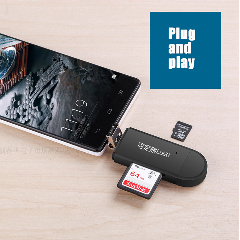 3 In 1 Type C & Micro USB & USB OTG Card Reader  High-speed USB 2.0 Universal OTG TF/SD For Android Computer Extension Headers