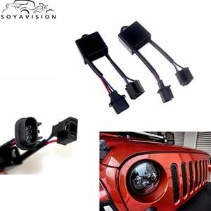 """Image 1 - SOYAVISION 7 """"Auto Led Scheinwerfer H4 To H13 Für Jeep Wrangler JK Anti Flimmern Decoder Fit Jede H4 7"""" runde LED Scheinwerfer"""