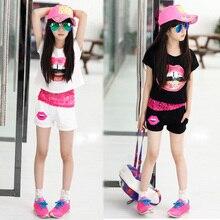 лучшая цена  2015 fashion summer children's girls clothing sets short sleeve blouse + short pants 3 piece set kids clothes suit