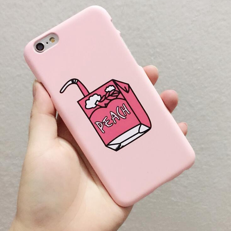 Milk Box Case Peach Juice Milk Carton Cover Fashion Matte Coque For
