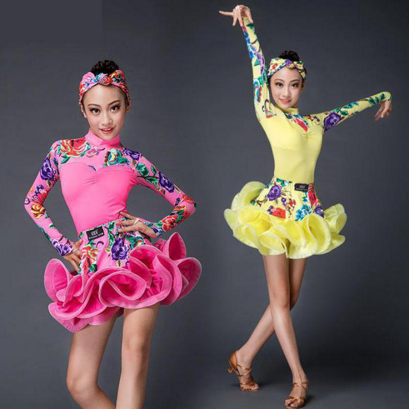 Girls Latin Dance Dress Children Long Sleeve Dance Leotard Skirt Sets Performance Competition Standard Kids Princess Costumes