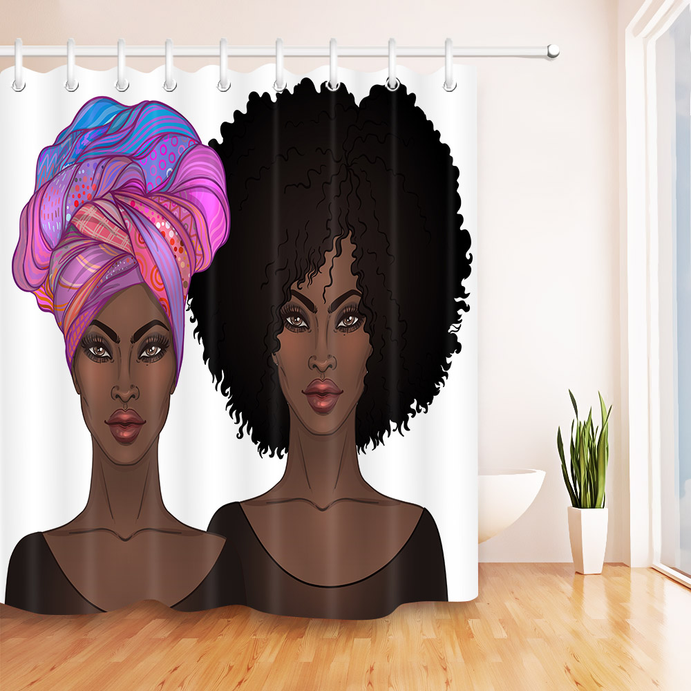 Afro Hair African American Women Shower Curtain Tradition -3555