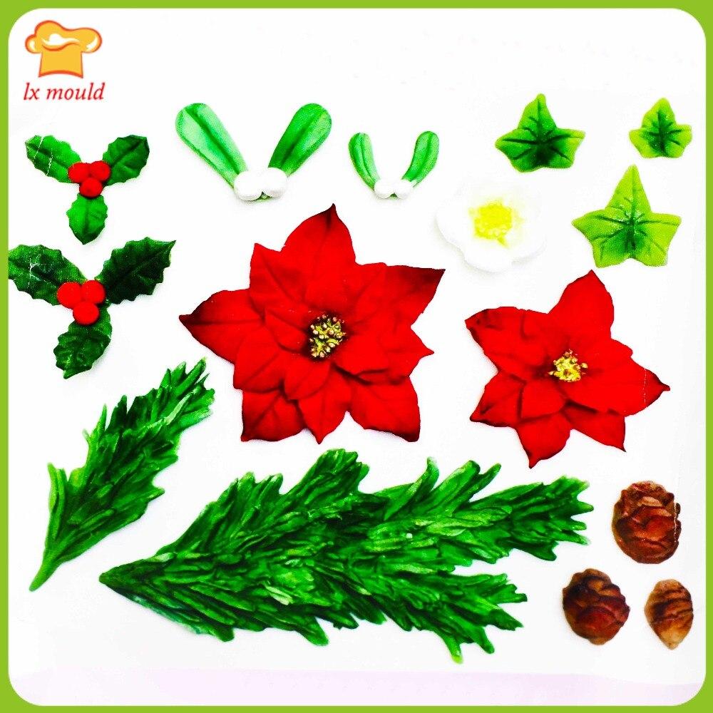 Borovice listy Vánoční květinový list tisková forma reliéfní cukroví plíseň silikonová forma platinový silikon pečení silikon