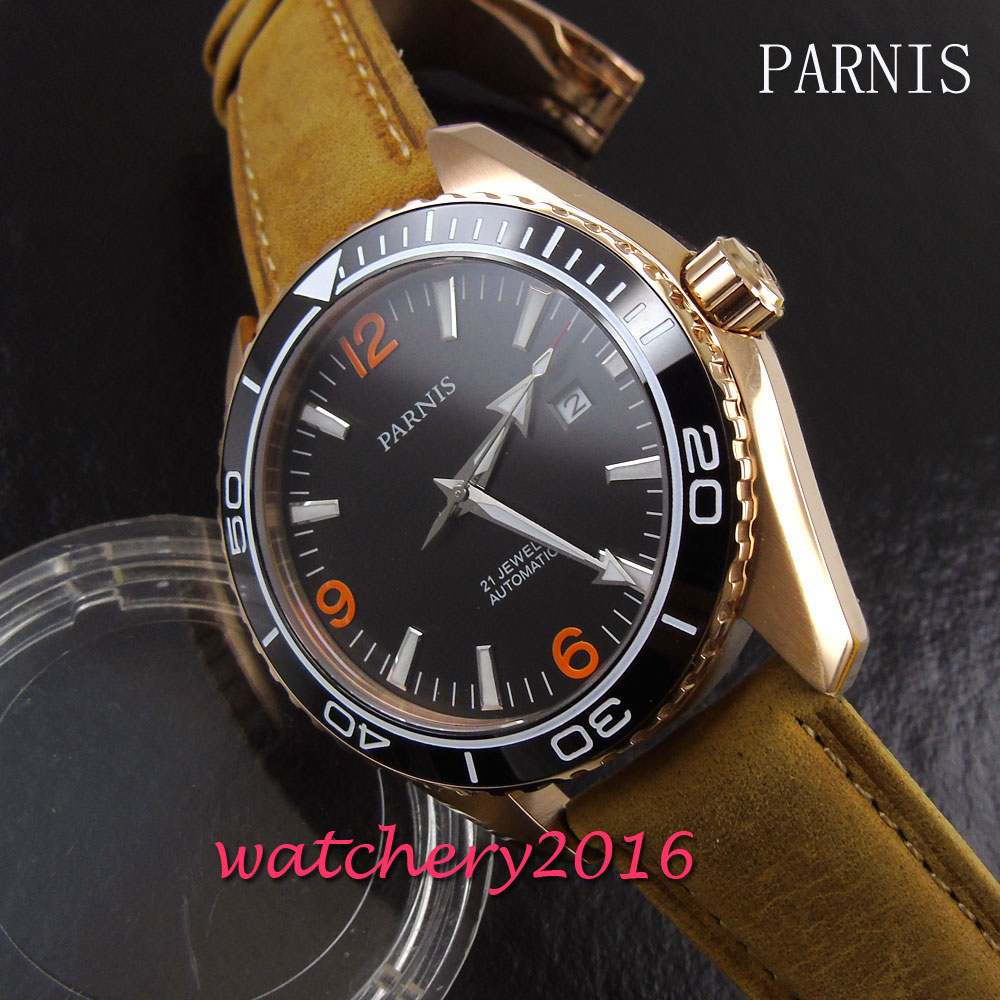 45mm Parnis black dial gold case sapphire glass 21 jewels miyota automatic movement Mens Watch45mm Parnis black dial gold case sapphire glass 21 jewels miyota automatic movement Mens Watch