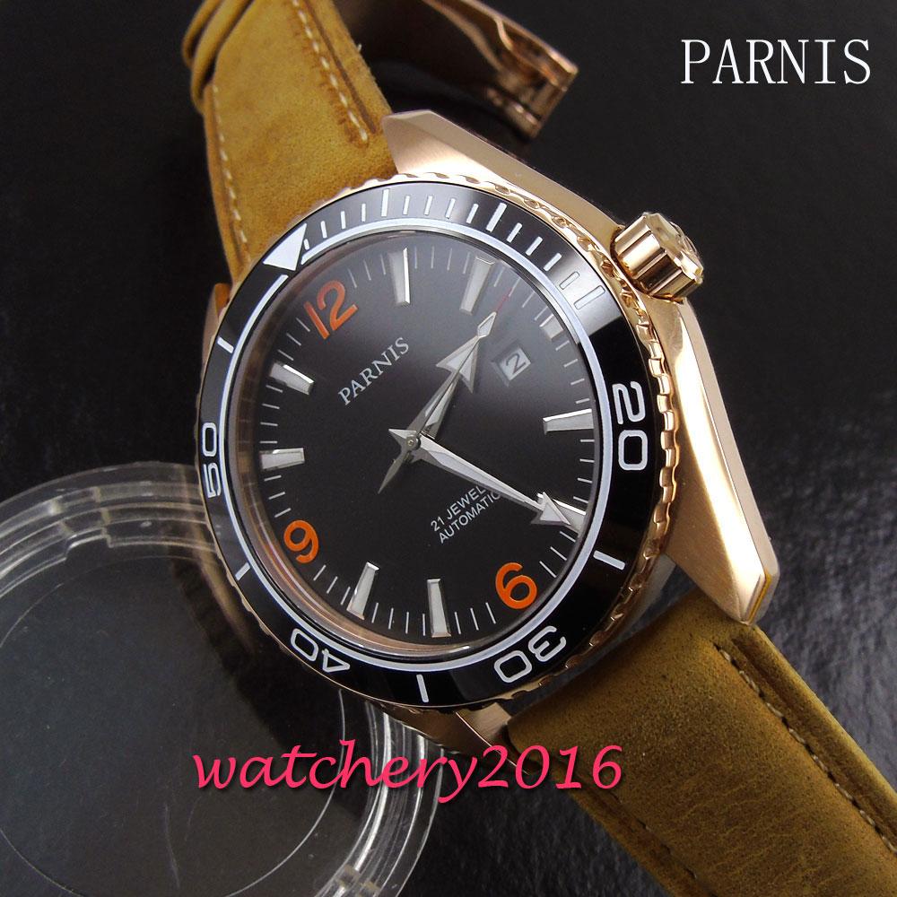 45mm Parnis black dial gold case sapphire glass 21 jewels miyota automatic movement Men's Watch цена и фото
