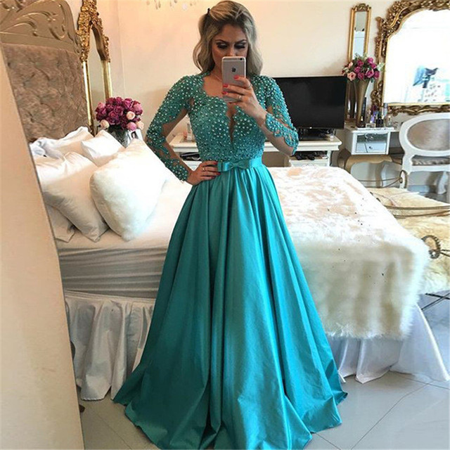 1be3903e1fc1 Vestidos Longos Elegant Bow Lace Appliques Pearls Blue Long Sleeve Evening  Prom Dress 2017 Sexy Open Back Formal Party Gown E48