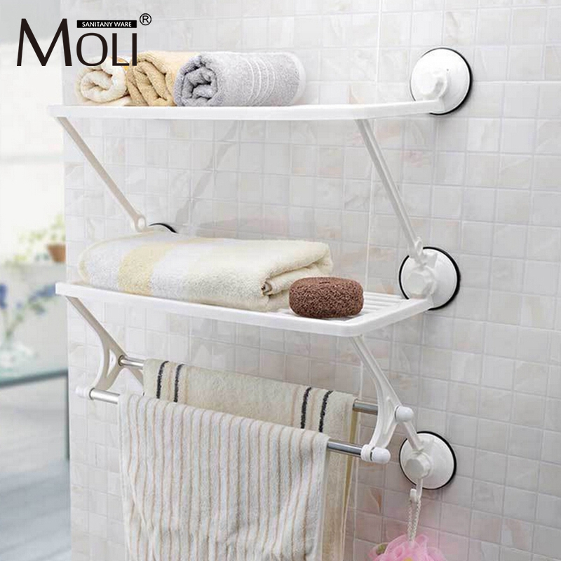 Dual layer towel racks with dual bars strong suction plastic towel holder wall suction cup bathroom towel shelf
