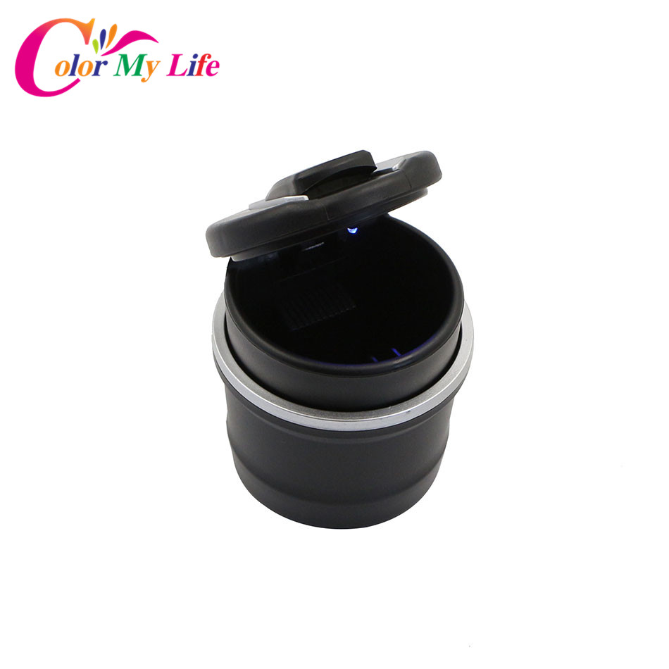 Car Ash Holder Tray Ashtray Storage Cup Ash Garbage Container With LED for Ford Focus 2 3 4 Fiesta Everest Ranger Mondeo Escape