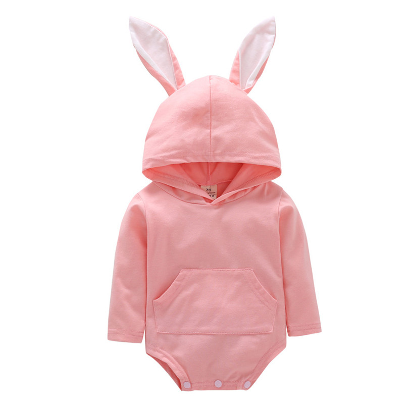 2018 Baby Clothes Baby Romper Toddler Infant Baby Girl Boy Cartoon Rabbit Ear Long Sleeve Hooded Jumpsuit Romper Clothes JY12#F (3)