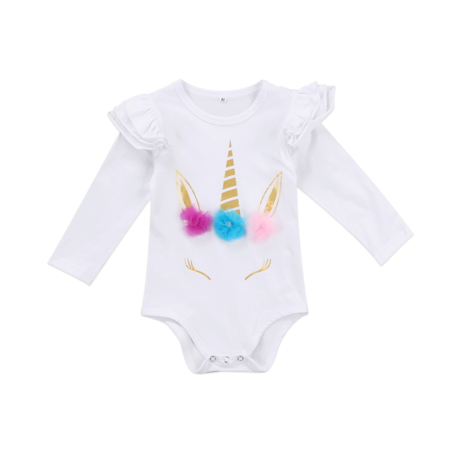 45d711dc31e Lovely Newborn Infant Kids Baby Girl unicorn Romper Romper Clothes Long  Sleeve Ruffles Infant jumpsuits Clothes