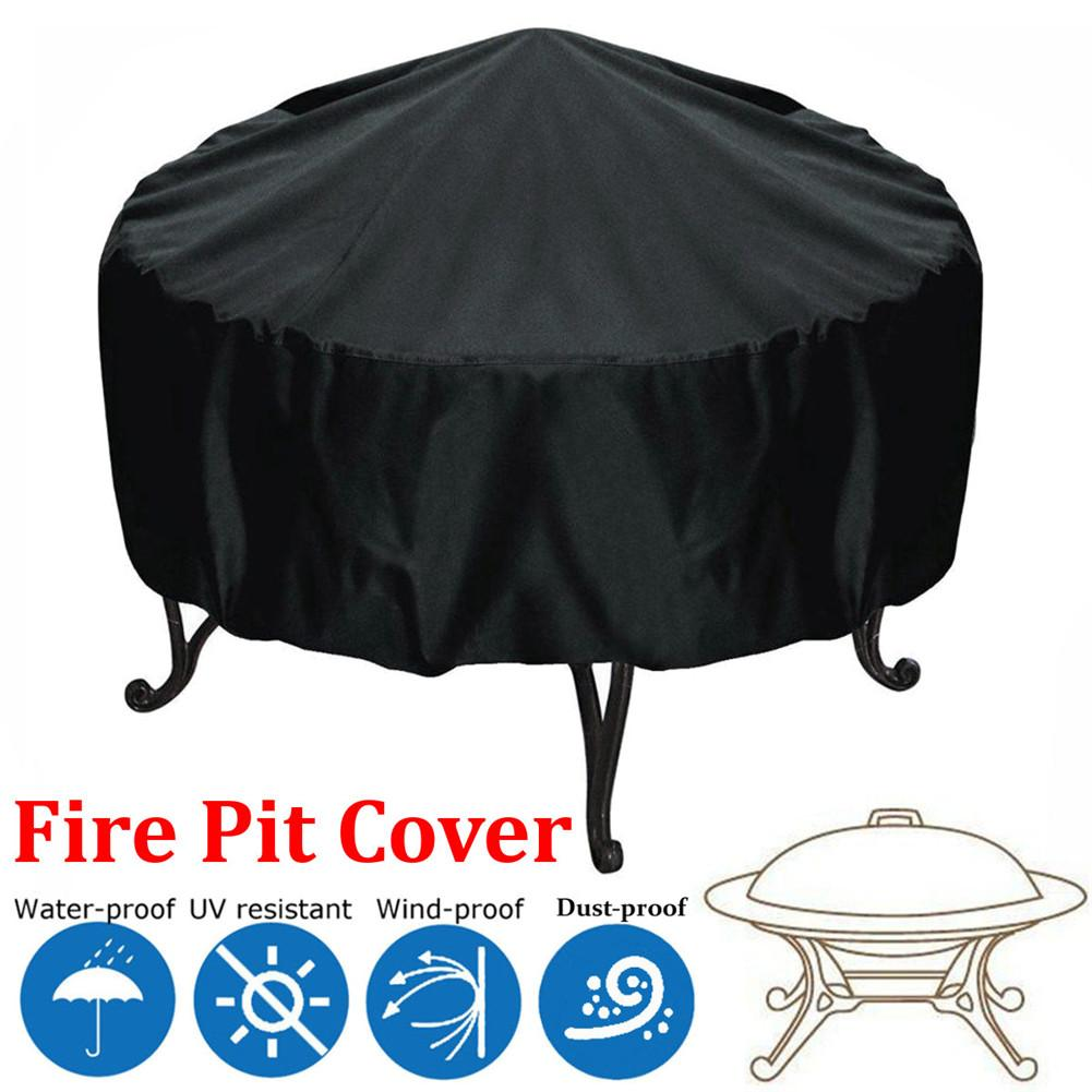 Patio Round Fire Pit Cover UV Waterproof Protection Black Outdoor Round Grill Dust Cover 112cm Polyester Fiber Dust Cover