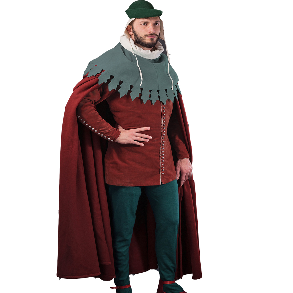 Cosplaydiy 14th Century Medieval Knight Cosplay Circle Cloak Tunic Complete Outfit Victorian Viking Suit L320