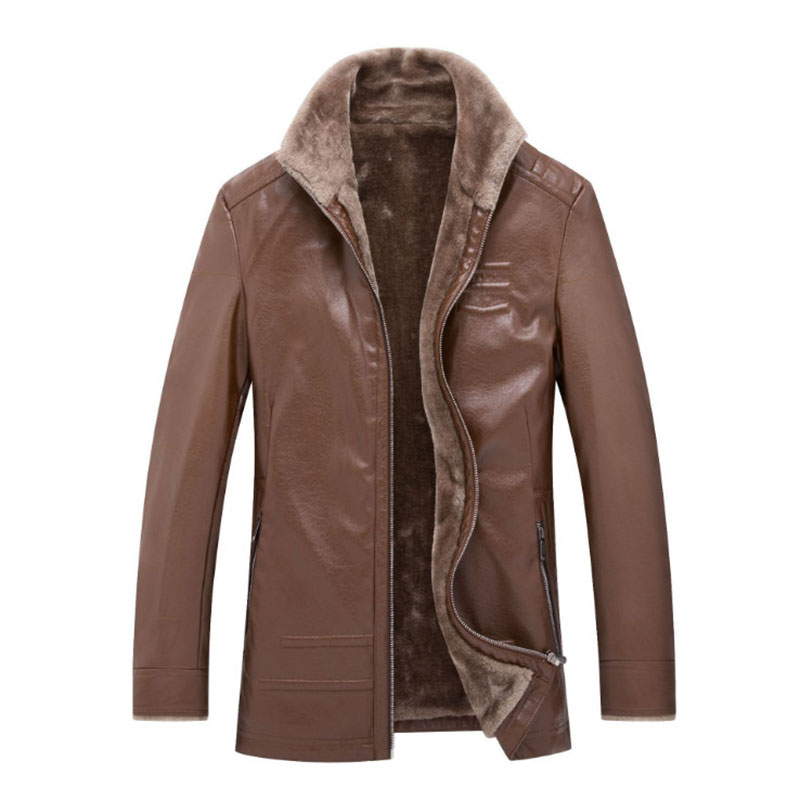 New Winter Fur Strip Sewed Toghter Leather Jacket Men Casual Fleece Faux Leather Coat Mens Suede Leather Jackets PU Outerwear