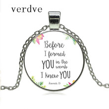 2018 Before I formed you in the womb I knew you Nursery Bible Verse Necklace Jeremiah 1:5 Glass Tile Pendant Fashion Jewelry