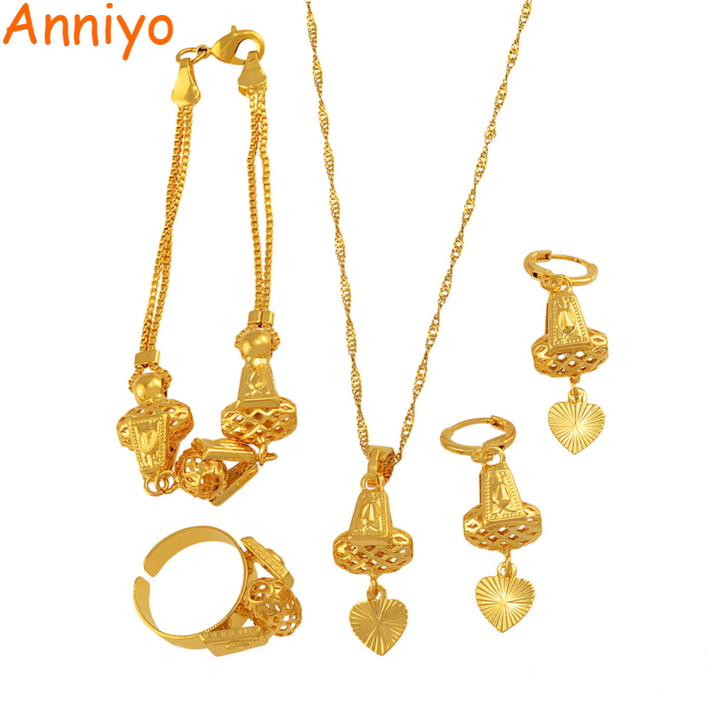 Anniyo coração conjunto de jóias colar & pingente pulseira brincos anel cor de ouro corrente feminino presente romântico africano conjunto árabe #053806