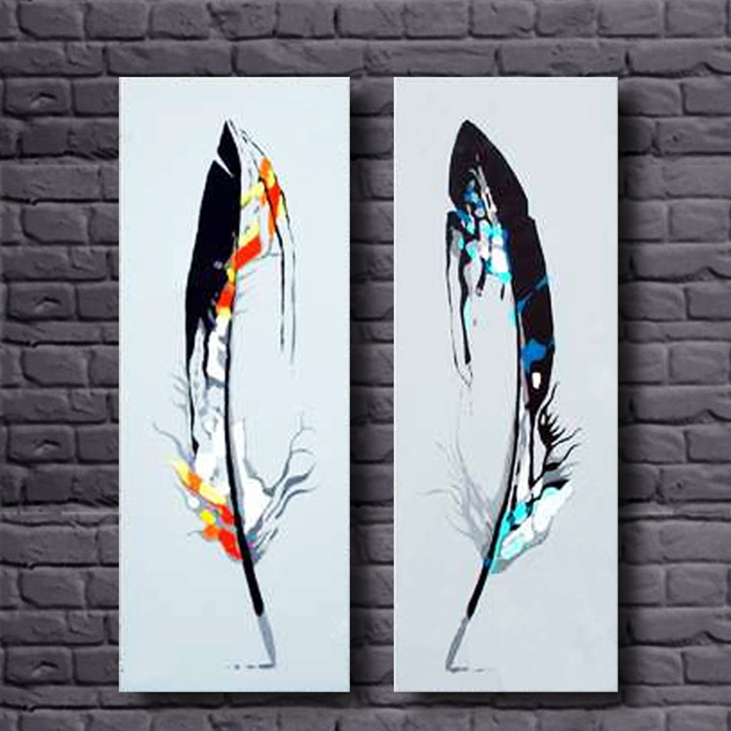 2 Panel Modern Handmade Feather Landscape Painting On Canvas Home Decor Wall Pictures For Living Room No Frame