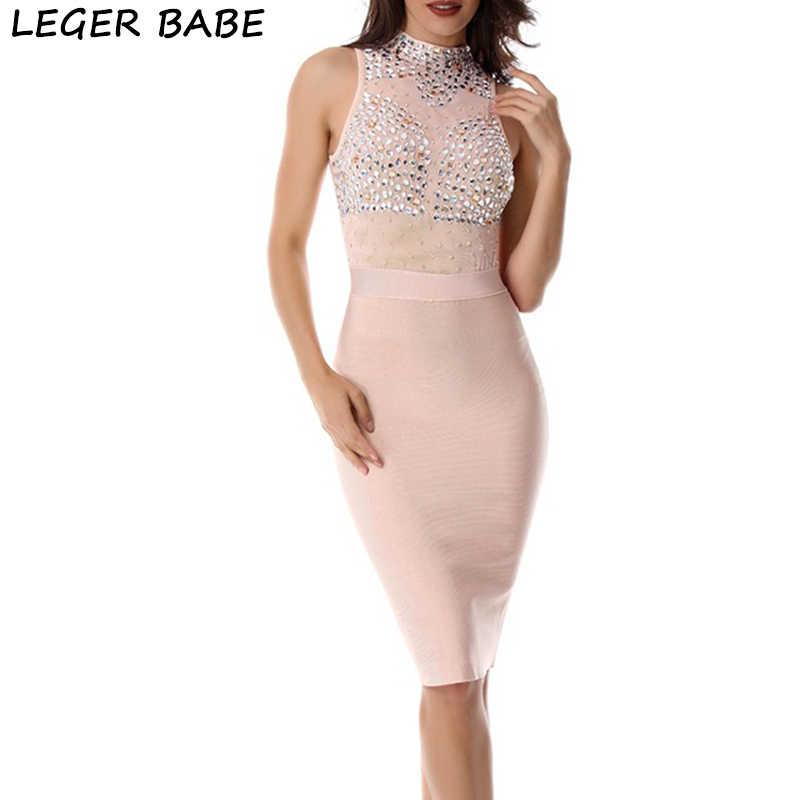 Женские платья новое поступление 2019 элегантный бодикон, повязка платье с бисером аппликации Сексуальная Ким Кардашьян Клубная одежда