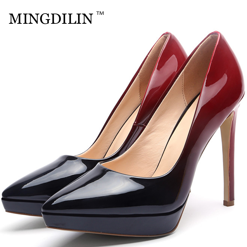 MINGDILIN Sexy Woman High Heels Shoes Plus Size 33 43 Women's Bridal Shoes Blue Red Pointed Toe Wedding Party Pumps Stiletto mingdilin sexy women s heel shoes high heels shoes woman pumps plus size 33 43 pointed toe ping red wedding party pumps stiletto