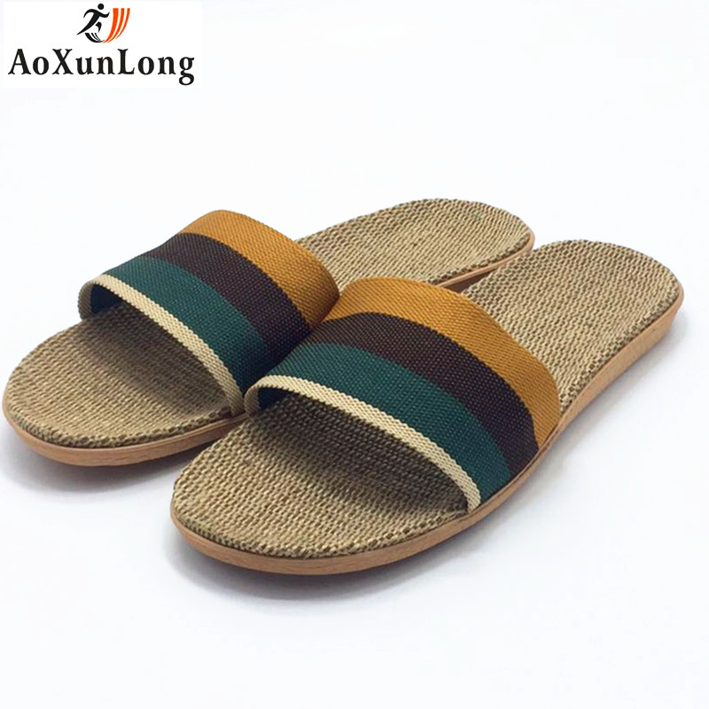Spring Men Slippers Flax Weaving Home Slippers Summer Beach Men's Sandals Casual Shoes Men Flip Flops Eur 40-45 sapato masculino lanshulan bling glitters slippers 2017 summer flip flops platform shoes woman creepers slip on flats casual wedges gold