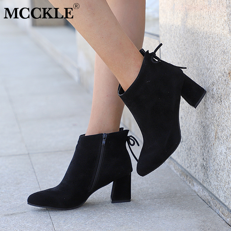 Womens Ankle Boots Ladies High Heel Zip Faux Suede Casual Fashion Shoes Sizes