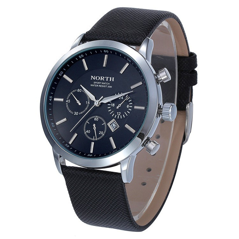 2017 Mens Watches NORTH Brand Luxury Casual Military Quartz Sports Wristwatch Leather Strap Male Clock watch relogio masculino oulm mens designer watches luxury watch male quartz watch 3 small dials leather strap wristwatch relogio masculino