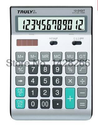 One Piece New Original Truly 901A Korean Office Dual Power Solar Calculator 12 Digits Ergonomic Calculator