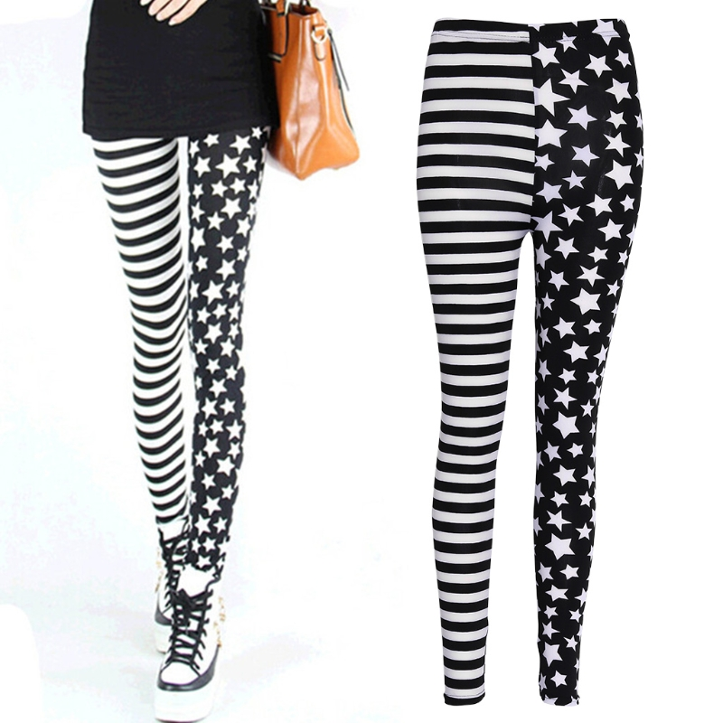 Women Stripe+Stars Tights Elastic Waist Stretch Pencil Pants Jeggings