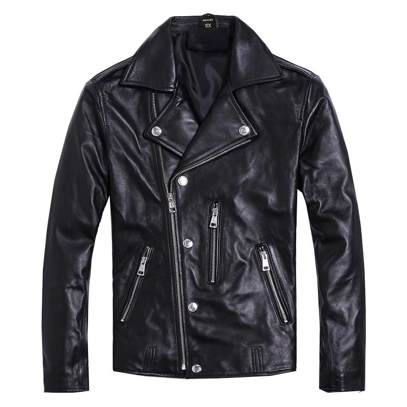 Livraison gratuite. tout nouveau manteau moteur en peau de mouton souple. veste en cuir véritable pour homme. vêtements de motard slim. vestes de grande taille-in Manteaux en cuir véritable from Vêtements homme    1