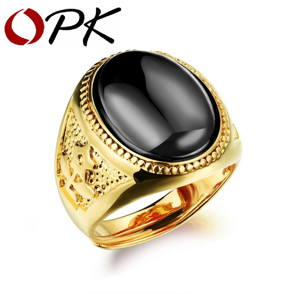 OPK BlackRedGreen Stone Men Ring Gold Color New Arrival