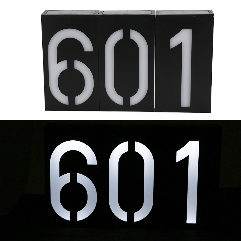 1PC Solar Power 6 LED Light Sign House Hotel Door Address Plaque Number Digits Plate Waterproof IP54 House Number Solar Light