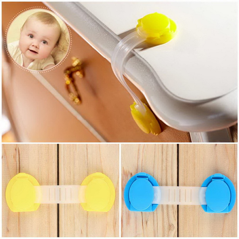 2Pcs Toddler Baby Safety Lock Kids Drawer Cupboard Fridge Cabinet Door Lock Plastic Cabinet Locks Baby Security Lock New Arrival happy baby cupboard lock