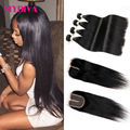 8A Grade Unprocessed Mink Brazilian Straight Hair With Closure 4 Bundles With Closure Human Hair Weave Bundles With Closure