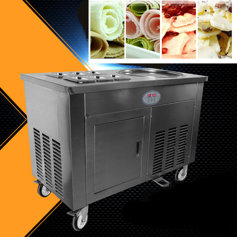 stainless steel one pan Double compressor fry ice cream machine,ice pan machine,fried ice cream roll machine with 35L freezer full stainless steel one pan fried ice cream roll machine pan fry flat ice cream maker yoghourt fried ice cream machine