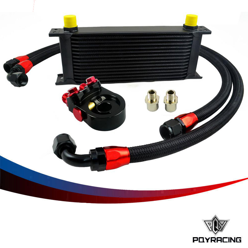 Здесь можно купить   PQY RACING- Universal 15ROWS OIL COOLER ENGINE KIT +AN10 oil Sandwich Plate Adapte with Thermostat +2PCS NYLON BRAIDED HOSE LINE Автомобили и Мотоциклы