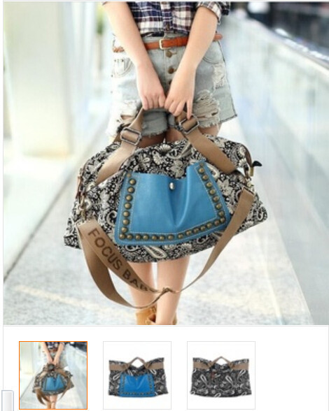 1 Piece European American Totem Leisure Shoulder Bags Printing National Wind Retro Rivets Big Travel Bags Canvas Material